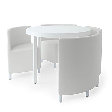 WHITE HI GLOSS ROUND DINING TABLE WITH PU WHITE LEATHER