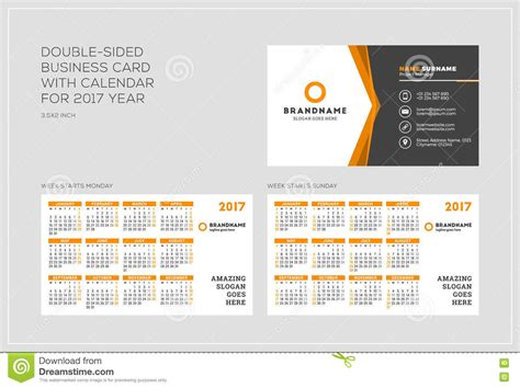 Double-sided Business Card Template With Calendar For 2017