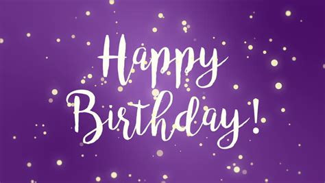 fun purple happy birthday greeting stock footage video