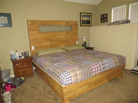 How To Make A King Size Headboard by King Size Wood Flooring Platform Bed And Headboard With