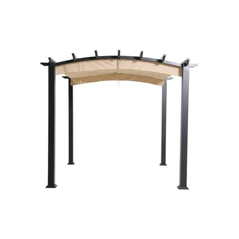 hton bay 9 ft x 9 ft steel and aluminum arched pergola with retractable canopy browns tans