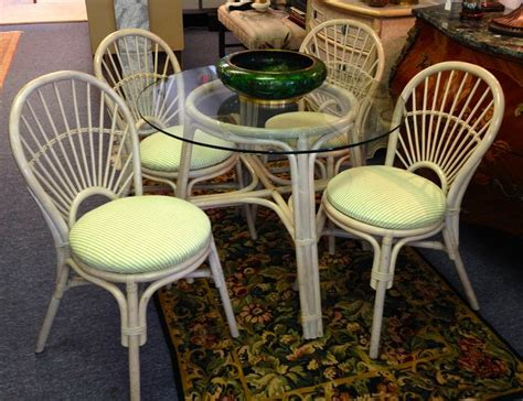 rattan dinette set white 4 chairs and 36 inch glass