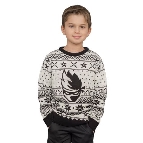 youth ninja logo christmas sweater  shuriken katanas