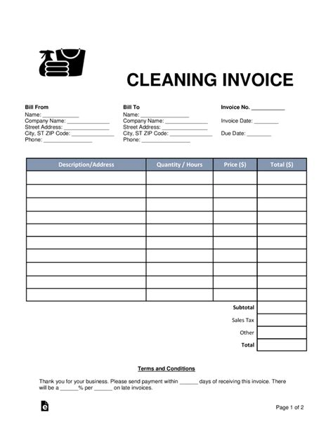 cleaning housekeeping invoice template word