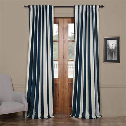 Curtains Navy Cream Striped Blackout Curtain Drapes