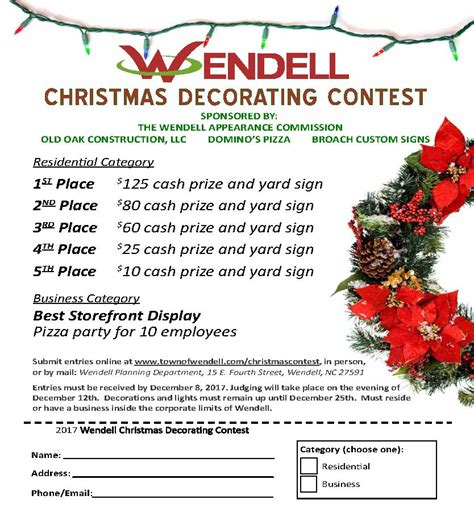 christmas decorating contest town of wendell