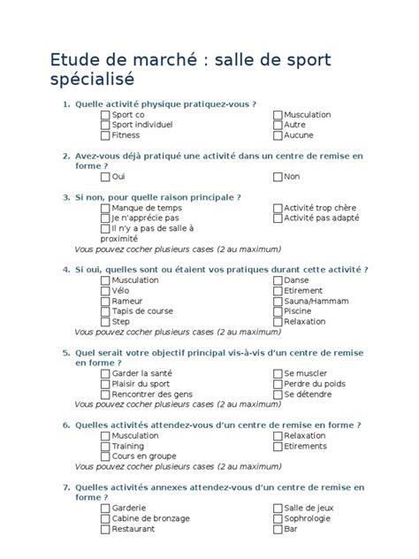 questionnaire salle de sport