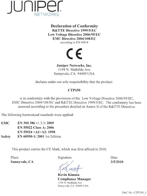 ce self certification template declaration of conformity for the ctp150 platform