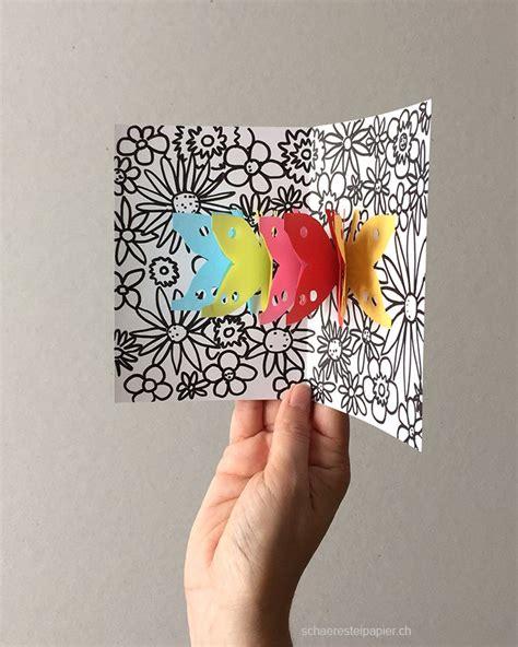 pop up karte vorlage zum ausdrucken schmetterlinge auf der blumenwiese pop up karte schulideen pop up karten vorlagen basteln