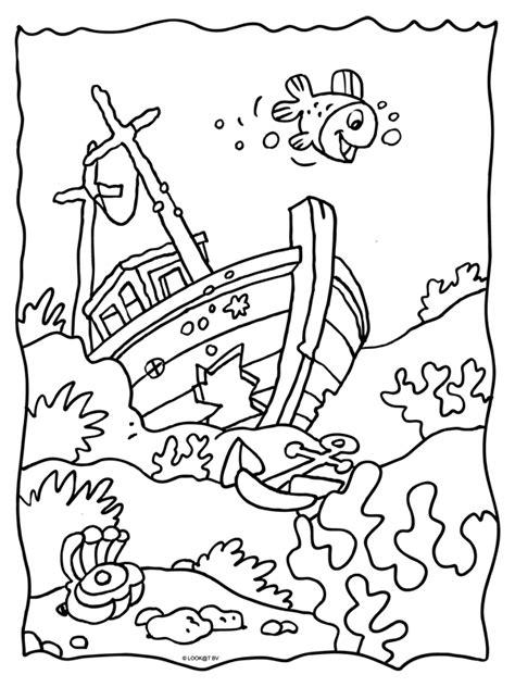 Schip Kleurplaat by Kleurplaat Gezonken Schip Wrak Kleurplaten Nl