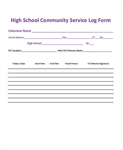 community service form template 39 free log templates sle templates