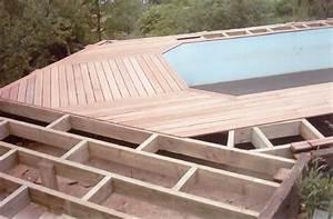 Amenagement Autour Piscine Hors Sol : amenagement d 39 une terrasse en bois exotique autour d 39 une piscine hors sol site de jardin ma ~ Nature-et-papiers.com Idées de Décoration