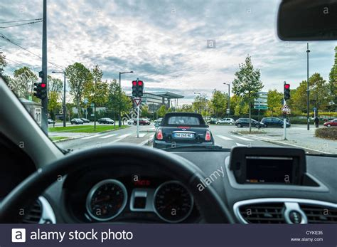 Driver View From Inside Car While Driving Strasbourg