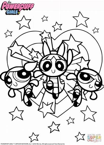 Powerpuff Coloring Colorear Dibujos Printable Cartoon Colorare