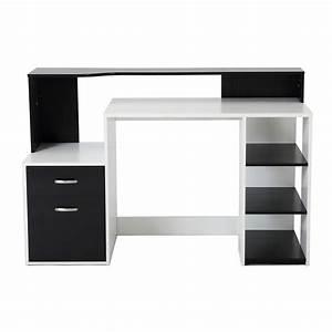 Bureau Noir Et Blanc : homcom bureau meuble informatique moderne avec de nombreux ~ Melissatoandfro.com Idées de Décoration