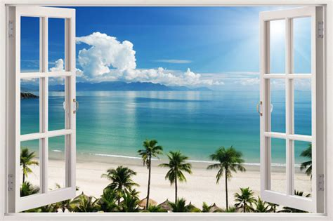 3d Window Ocean View Blue Sea Home Decor Wall Sticker: 3D Window Decal WALL STICKER Home Decor Exotic Beach View