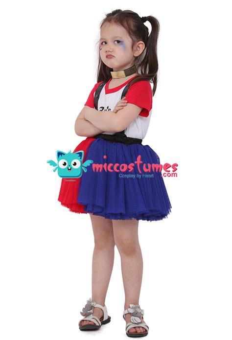 harley quinn kostüm kinder harley quinn m 228 dchen rot und blau kleid kost 252 m f 252 r kinder