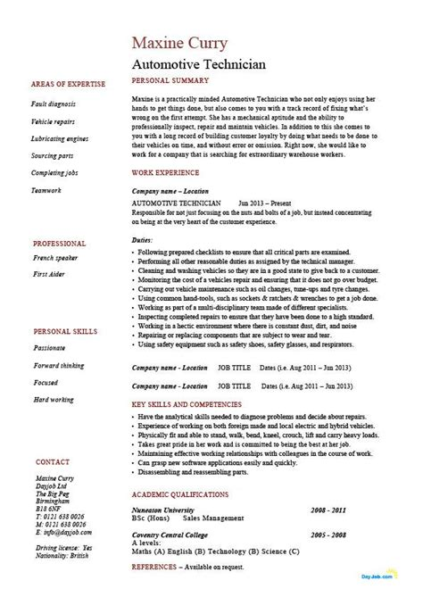 automotive technician resume vehicles template exle