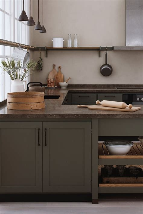 gorgeous kitchen  olive green cabinets deep earth