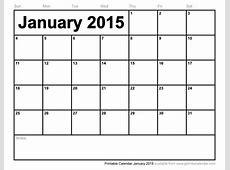 Printable Calendar January 2015