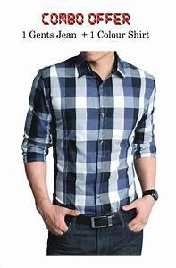 Gents Blue/Black Jeans u0026 Colored Shirt (Combo)