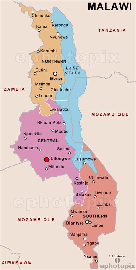 malawi politische karte