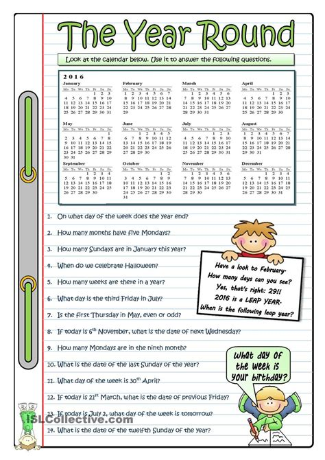2016 the year round esl worksheets of the day