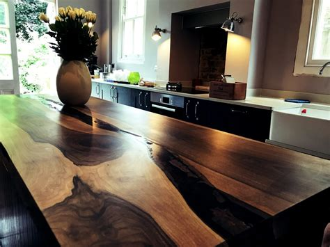 bespoke english walnut kitchen island  epoxy river