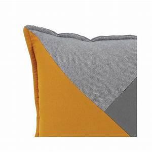 Coussin Gris Et Jaune : coussin prestige jaune et gris 45 x 45 cm ~ Dailycaller-alerts.com Idées de Décoration