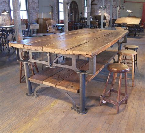 industrial kitchen table vintage industrial cast iron and wood display work bench