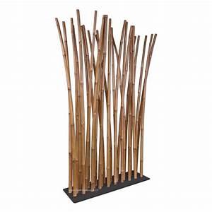 Separateur De Piece Bois : paravent bambou naturel sur pied noir avec 29 tiges de bambou sur socle acier bambou world ~ Teatrodelosmanantiales.com Idées de Décoration