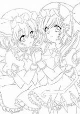 Sisters Lineart Deviantart Scarlet Coloring Anime Twin Colouring Line Template Flandre Linear sketch template