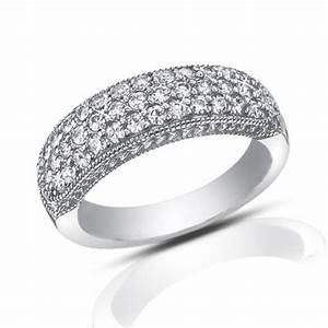 100 Ct Pave Set Round Cut Diamond Wedding Band Ring