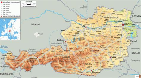 map  austria region geography political
