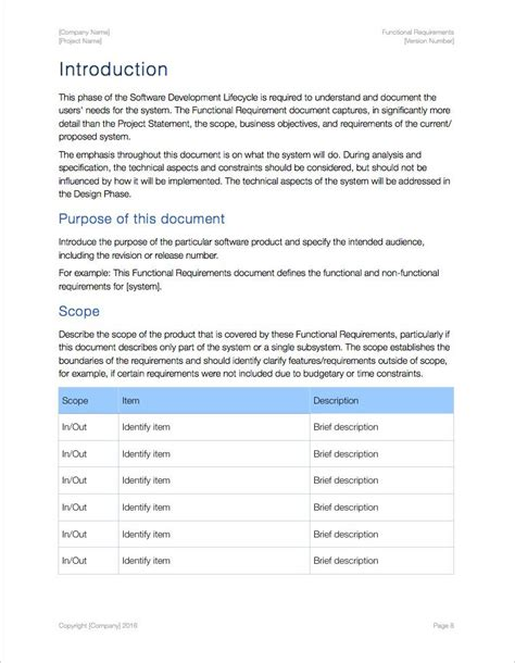 functional requirements document template functional requirements template apple iwork pages