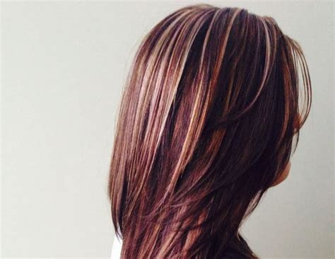 beautiful burgundy hairstyles  blonde highlights
