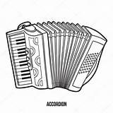 Coloring Musical Accordion Instruments Children Vector Illustration Depositphotos Ksenya Savva sketch template