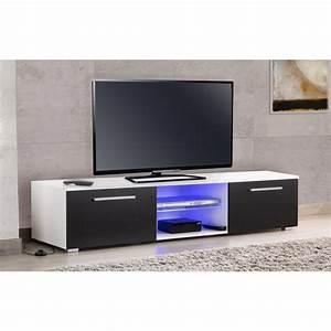 Meuble Tv Led Noir : meuble tv led blanc noir usaha maison et styles ~ Teatrodelosmanantiales.com Idées de Décoration