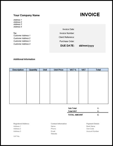 invoice template uk     excel word