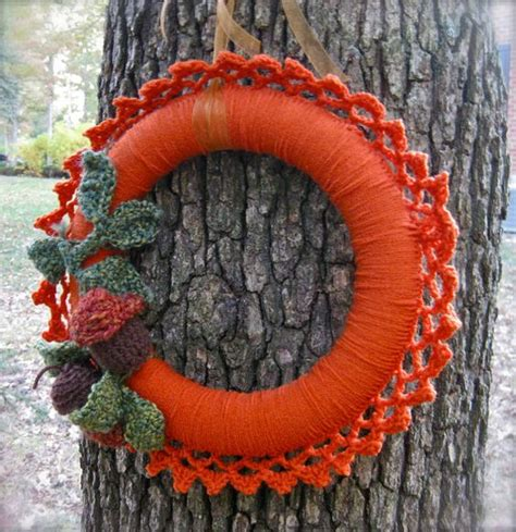 woodland pumpkin crocheted wreath  acorns  leaves