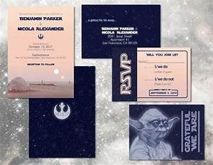 star wars wedding invitation set custom digital With digital video wedding invitations
