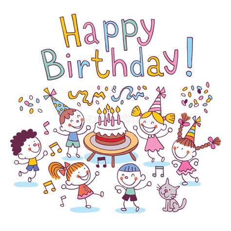 happy birthday kids stock vector illustration  hand