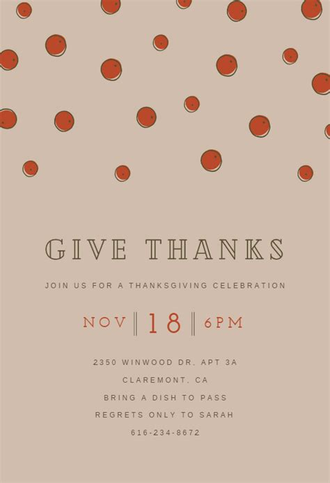give  thanksgiving invitation template
