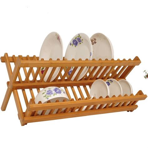 wood plate drain rack pot lid dish bowl cup display holder book storage shelf kitchen
