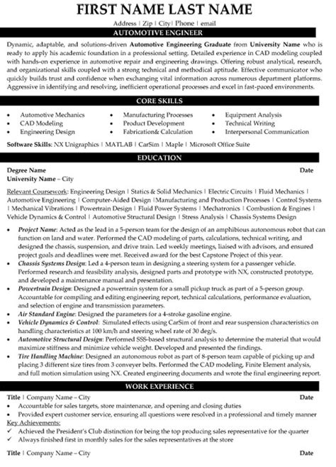Automotive Engineer Resume by Automotive Engineer Resume Sle Template