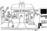 Mcdonald Coloring Restaurant Mcdonalds Printable sketch template
