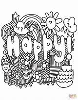 Coloring Happy Pages Printable Doodle Adults Quotes Colorings Books Main sketch template