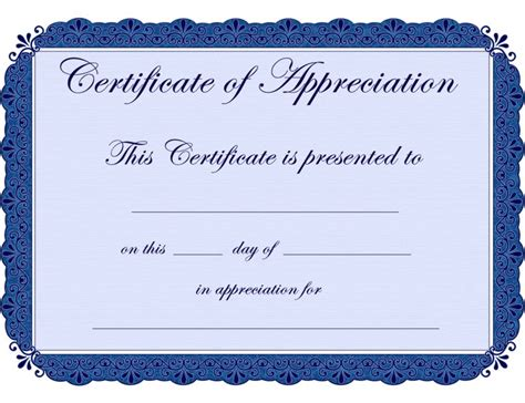 appreciation certificate template printable pages