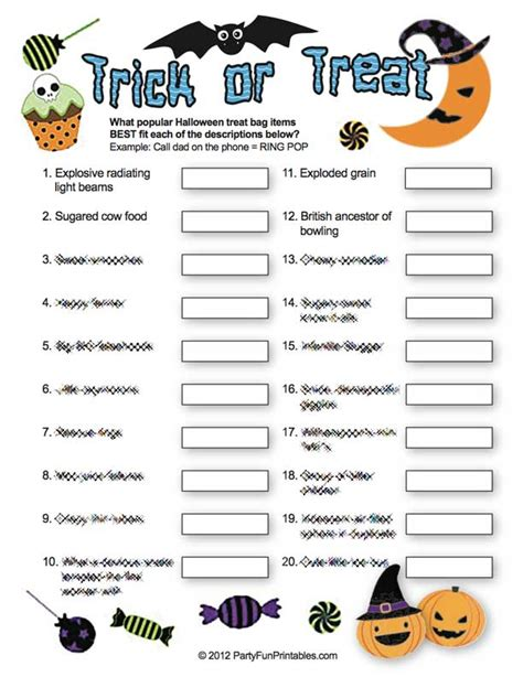 Printable Halloween Scavenger Hunt Clues by Trick Or Treat Game A Deliciously Fun Halloween Trivia