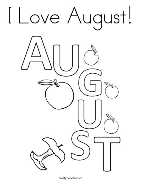 love august coloring page twisty noodle